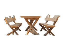 Wooden table and bench. Royalty Free Stock Photos