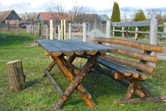 Wooden table and bench. At country Royalty Free Stock Photos