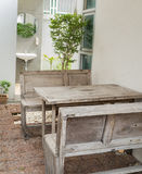 Wooden table and bench Royalty Free Stock Photo