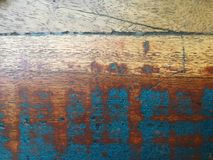 Wooden table bench wallpaper or background. Wooden table bench colored wallpaper or abstract background for texture design color blue brown line grunge old retro stock images