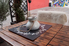 Wooden table of bistro by winter Royalty Free Stock Photo