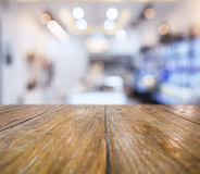 Wooden Table blurred Bar Restaurant Interior Background Royalty Free Stock Photo