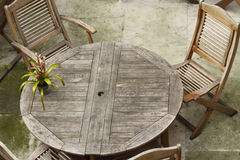 Wooden table and chair Stock Photography