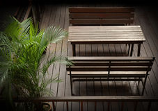 Wooden table and chair Royalty Free Stock Photos