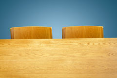 Wooden table and chair Royalty Free Stock Images