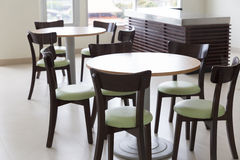 wooden and table chair in food court Stock Image