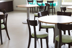 wooden and table chair in food court Royalty Free Stock Photography