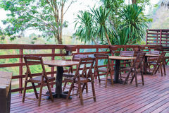 Wooden table and chair in resort and garden, dining set at woode Stock Photos