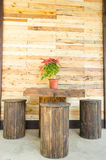 Wooden Table And Chair Set. Royalty Free Stock Images