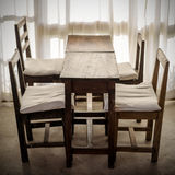 Wooden table and chair Royalty Free Stock Image