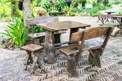 Wooden table and chairs Stock Photo