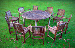 Wooden table and chairs Royalty Free Stock Photo