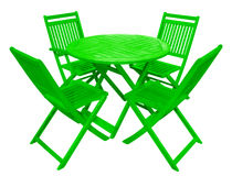 Wooden table and chairs - green Royalty Free Stock Photos