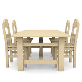 Wooden table and chairs. Isolated render on a white background Royalty Free Stock Photos
