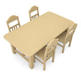 Wooden table and chairs. Isolated render on a white background Stock Images