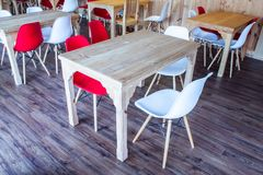 Wooden table and chairs plastic royalty free stock photo