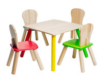 Wooden table and chairs toys for kid Stock Photo