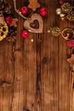 Wooden table with Christmas decoration Royalty Free Stock Image