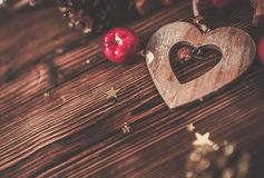 Wooden table with Christmas decoration royalty free stock photo