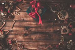 Wooden table with Christmas decoration royalty free stock images