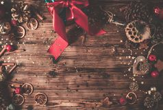 Wooden table with Christmas decoration royalty free stock photography