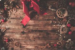 Wooden table with Christmas decoration royalty free stock photos