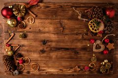 Wooden table with Christmas decoration Stock Photos
