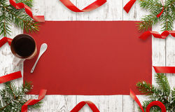 Wooden table with christmas decorations. Free space for christmas card text Royalty Free Stock Images