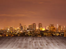 Wooden table & City at Night 2 Royalty Free Stock Photos