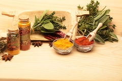 Wooden table of colorful spices. And herbs Stock Photography