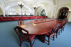 Wooden table in Commerce and Industrial chamber of Russia Royalty Free Stock Photography
