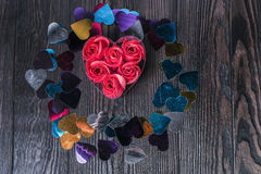 On wooden table composition for Valentine's Day Stock Photos