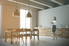 Wooden table and countertops kitchen side toned Royalty Free Stock Photos