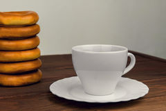 On a wooden table cup of tea Stock Image
