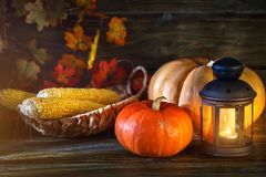 The wooden table decorated with vegetables, pumpkins and autumn leaves. Autumn background. Schastlivy von Thanksgiving Royalty Free Stock Photography