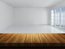 Wooden table with defocussed empty room image Stock Images