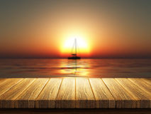 Wooden table with defocussed sunset sea image Royalty Free Stock Photo