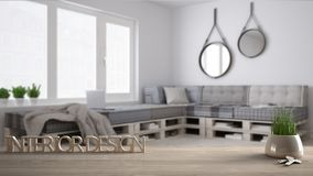 Wooden table, desk or shelf with potted grass plant, house keys and 3D letters making the words interior design, over blurred scan. Dinavian living room, project Royalty Free Stock Images