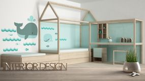 Wooden table, desk or shelf with potted grass plant, house keys and 3D letters making the words interior design, over blurred chil. Dren bedroom, project concept stock photography