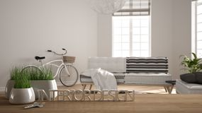 Wooden table, desk or shelf with potted grass plant, house keys and 3D letters making the words interior design, over blurred. Modern living room, project stock photo