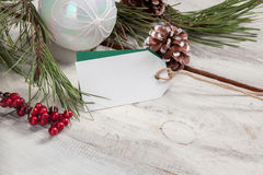 The wooden table with  empty  blank price tag Stock Photos