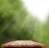 Wooden table. Empty wooden table with garden Stock Illustration