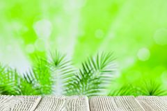 Wooden table with empty space on green nature abstract background stock images