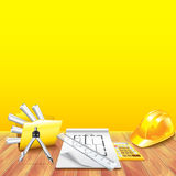 Wooden table and engineer tools vector Stock Photos