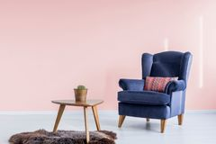 Table on furry rug. Wooden table with fresh potted plant standing on furry rug in pink waiting room with navy blue armchair royalty free stock image