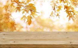 Wooden table in front of abstract blurred colorful autumn background Stock Photography