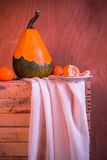 Wooden table full fresh fruit baskets Stock Images