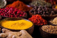 Wooden table of hot spices Stock Photos