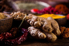 Wooden table of hot spices Stock Photo