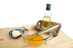 Wooden table with ingredients for making mayonnaise sauce Royalty Free Stock Photos